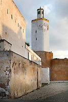 Mosque's minaret, a converted lighthouse, 19th century, El Jadida, Morocco. El Jadida, previously known as Mazagan (Portuguese: Mazag√£o), was seized in 1502 by the Portuguese, and they controlled this city until 1769. The Grand Mosque of El Jadida is claimed to home the world's only pentagonal minaret. Picture by Manuel Cohen