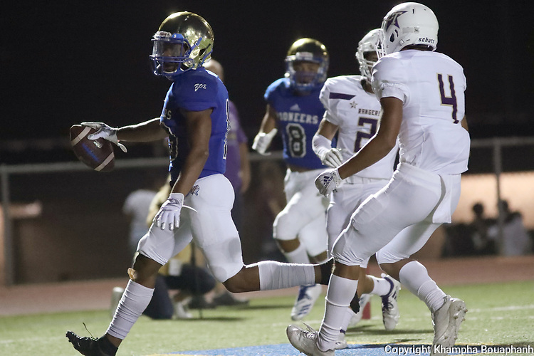 Boswell's Brandon Chatman makes a 19-yard touchdown reception in the first quarter during their 73-7 win over Chisholm Trail in 3-5A high school football on Thursday, September 20, 2018. (Photo by Khampha Bouaphanh)