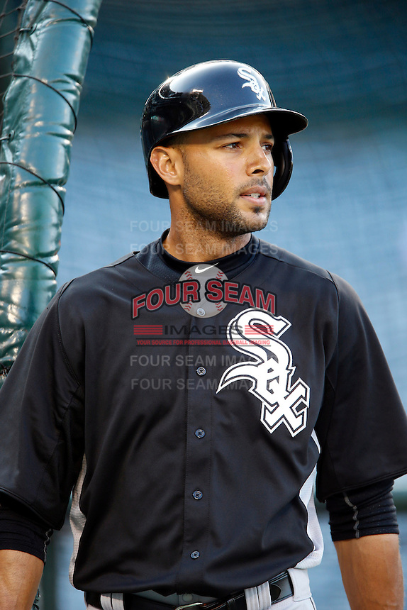 Alex Rios #51 of the Chicago White Sox before a game against the Los Angeles Angels at Angel Stadium on May 17, 2013 in Anaheim, California. (Larry Goren/Four Seam Images)