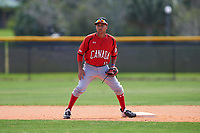 Canada Junior National Team Leroux Brando (11) during practice before an exhibition game against the Toronto Blue Jays on March 8, 2020 at Baseball City in St. Petersburg, Florida.  (Mike Janes/Four Seam Images)