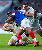 10th February 2019, Twickenham Stadium, London, England; Guinness Six Nations Rugby, England versus France; Blood pours from the face of Tom Curry of England after a tackle by Mathieu Bastareaud of France