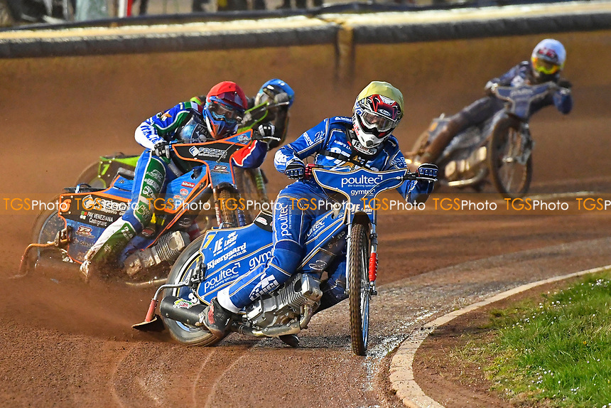 Kasper Andersen of King's Lynn Stars leads in Heat 2 during Poole Pirates vs King's Lynn Stars, SGB Premiership Shield Speedway at The Stadium on 11th April 2019