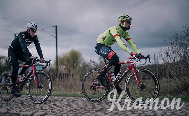Jasper Stuyven (BEL/Trek-Segafredo)<br /> <br /> Team Trek-Segafredo during parcours recon of the 116th Paris-Roubaix 2018, 3 days prior to the race