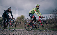 Jasper Stuyven (BEL/Trek-Segafredo)<br /> <br /> Team Trek-Segafredo during parcours recon of the 116th Paris-Roubaix 2018, 3 days prior to the race