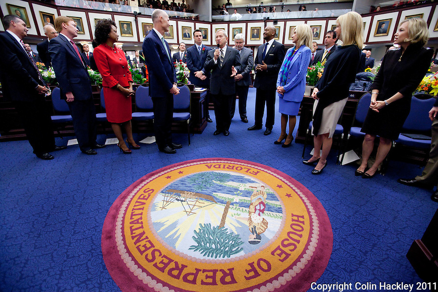 TALLAHASSEE, FLA. 3/8/11-OPENINGDAY030811 CH-Sen. Mike Bennett, R-Bradenton, center, leads a group from the Senate to let the House know they are ready to do business during the opening day of the 2011 legislative session Tuesday at the Capitol in Tallahassee..COLIN HACKLEY PHOTO