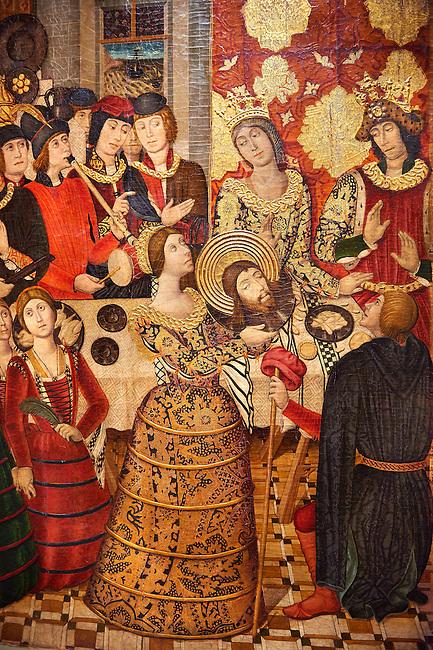 Gothic Catalan painted panel of the Banquet of Herod (Banquet d'Herodes) by Pere Garcia de Benvarri of Barcelona, Circa 1470, tempera and gold leaf on wood, from the church of Sant Joan (John) del Mercat de Lleida, Spain, National Museum of Catalan Art, Barcelona, Spain, inv no: MNAC  64060. <br /> <br /> Pere Garcia, one of the most outstanding representatives of the Aragonese school of influence of flamenco, works for several Aragonese and Catalan centres. From the church of Sant Joan del Mercat in Lleida there are some tables of the old high altarpiece, a large piece of furniture dedicated to Bautista, partially preserved and one of the narrative chambers, the Banquet of Herod. This scene, in which Salome presents the head of St. John to Herod. <br /> <br /> The styling of the scene allows us to imagine how a festive banquet took place in a noble Catalan house in the second half of the fifteenth century.<br /> <br /> SPANISH<br /> <br /> Pere Garcia, uno de los representantes mas destacados de la escuela gotica aragonesa de influence flamenca, trabajo para varios centros aragoneses y catalanes. De la iglesia de Sant Joan del Mercat de Lleida proviennen algunas tablas del antiguo retablo mayor, un mueble de grandes dimensiones dedicado a Bautista, conservado parcialmente y del que se expone uno de los compartientos narrativos, el Banquet de Herodes. Esta escena, en la que Salome presenta la cabeza de san juan a Herodidias y Herodes, permite imaginar como transcurria un banquete festivo en una casa noble en la esgunda mitad del siglo XV