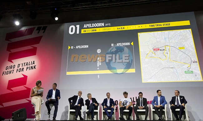 The Giro d'Italia 2016 Presentation held at Expo Milano, Milan, Italy. 5th October 2015.<br /> Picture: ANSA/Claudio Peri | Newsfile