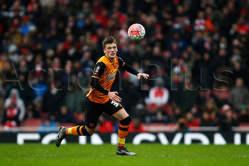 20.02.2016. The Emirates, London, England. Emirates FA Cup 5th Round. Arsenal versus Hull City. Josh Tymon of Hull controls the ball with his head.