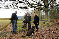 Pictured L-R: Trustee Simon Mundy, Anthony Plant and Amanda Fitzwilliams of the Sidney Nolan Trust Friday 02 December 2016<br /> The Sidney Nolan Trust, Rodd, Herefordshire, England, UK