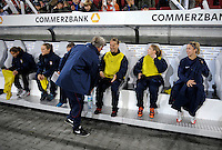 Pia Sundhage with her players. US Women's National Team defeated Germany 1-0 at Impuls Arena in Augsburg, Germany on October 29, 2009.
