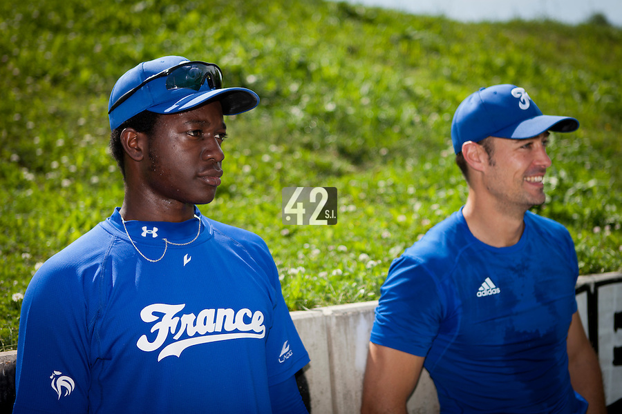 22 June 2011: Fred Hanvi of Team France is seen next to Jerome Rousseau prior to AIST Alumni 5-3 win over France, at the 2011 Prague Baseball Week, in Prague, Czech Republic.