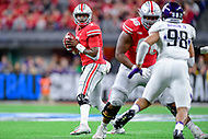 Indianapolis, IN - DEC 1, 2018: Ohio State Buckeyes quarterback Dwayne Haskins (7) looks to pass from the pocket during first half action of the Big Ten Championship game between Northwestern and Ohio State at Lucas Oil Stadium in Indianapolis, IN. (Photo by Phillip Peters/Media Images International)