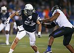 Nevada defender Brock Hekking (53) competes against Boise State's Archie Lewis (74) during the second half of an NCAA college football game in Reno, Nev., on Saturday, Oct. 4, 2014. Boise State won 51-46. (AP Photo/Cathleen Allison)