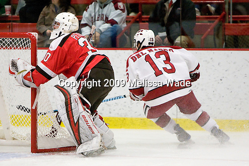 Alex Petizian (St. Lawrence - 30), Michael Del Mauro (Harvard - 13) - The St. Lawrence University Saints defeated the Harvard University Crimson 3-2 on Friday, November 20, 2009, at the Bright Hockey Center in Cambridge, Massachusetts.