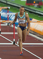 Jessica ENNIS HILL of GBR (Women's 100m Hurdles) finishes in 5th during the Sainsburys Anniversary Games at the Olympic Park, London, England on 24 July 2015. Photo by Andy Rowland.