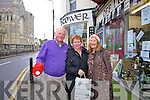Getting into the Christmas shopping spirit in Cahersiveen were l-r Willie O'Dricoll, Abina Quirke & Wilhelmina Koning.