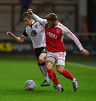 Fleetwood Town's Wes Burns battles with Morecambe's Andrew Fleming<br /> <br /> Photographer Dave Howarth/CameraSport<br /> <br /> EFL Checkatrade Trophy - Northern Section Group A - Fleetwood Town v Morecambe - Tuesday 3rd October 2017 - Highbury Stadium - Fleetwood<br />  <br /> World Copyright &copy; 2018 CameraSport. All rights reserved. 43 Linden Ave. Countesthorpe. Leicester. England. LE8 5PG - Tel: +44 (0) 116 277 4147 - admin@camerasport.com - www.camerasport.com