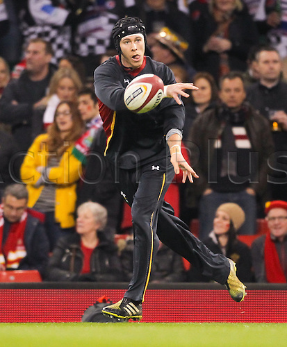 26.02.2016. Principality Stadium, Cardiff, Wales. RBS Six Nations Championships. Wales versus France. Wales Liam Williams during the pre match warm up