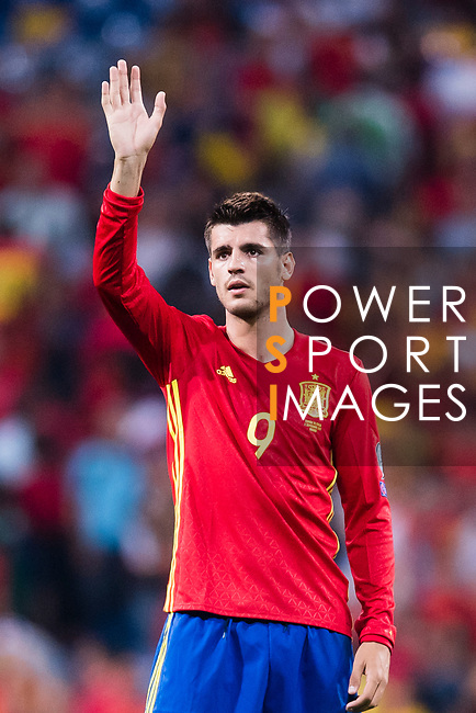 Alvaro Morata of Spain gestures during their 2018 FIFA World Cup Russia Final Qualification Round 1 Group G match between Spain and Italy on 02 September 2017, at Santiago Bernabeu Stadium, in Madrid, Spain. Photo by Diego Gonzalez / Power Sport Images