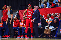 Washington, DC - August 31, 2018: Washington Mystics forward Aerial Powers (23) talks with Washington Mystics head coach Mike Thibault on the sideline during semi finals playoff game between Atlanta Dream and Wasington Mystics at the Charles Smith Center at George Washington University in Washington, DC. (Photo by Phil Peters/Media Images International)