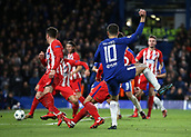 5th December 2017, Stamford Bridge, London, England; UEFA Champions League football, Chelsea versus Atletico Madrid; Eden Hazard of Chelsea shoots and Savic turns into his own net  in the 72nd minute to make it 1-1