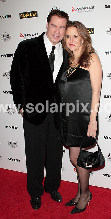 **ALL ROUND PICTURES FROM SOLARPIX.COM**                                             **SYNDICATION RIGHTS FOR UK, AUSTRALIA, DENMARK, PORTUGAL, S. AFRICA, SPAIN & DUBAI (U.A.E) & ASIA (EXCLUDING JAPAN) ONLY**                                                                                  Caption:  2011 G'Day USA Los Angeles Black Tie Gala Arrivals at The  Hollywood Palladium  CA, USA                                                                               This pic:Kelly Preston and John Travolta                                                                                              JOB REF:12704        PHZ       DATE: 22. 01.2011                                                         **MUST CREDIT SOLARPIX.COM OR DOUBLE FEE WILL BE CHARGED**                                                                      **MUST AGREE FEE BEFORE ONLINE USAGE**                               **CALL US ON: +34 952 811 768 or LOW RATE FROM UK 0844 617 7637**