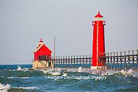 64795-01206 Grand Haven South Pier Lighthouse at sunrise on Lake Michigan, Ottawa County, Grand Haven, MI