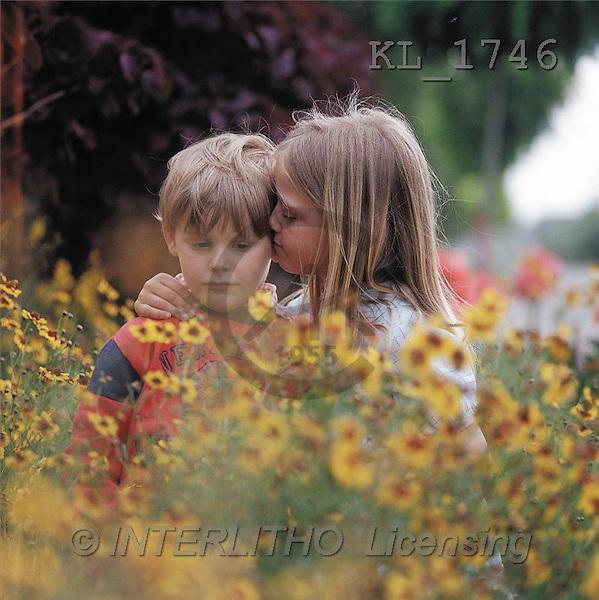 Interlitho, CHILDREN, photos, 2 kids, flowers(KL1746,#K#) Kinder, niños