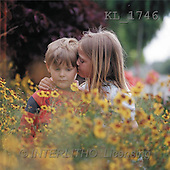 Interlitho, CHILDREN, photos, 2 kids, flowers(KL1746,#K#) Kinder, niños