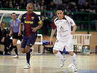Caja Segovia's Borja Diaz (r) and FC Barcelona Alusport's Ari Santos during Spanish National Futsal League match.November 24,2012. (ALTERPHOTOS/Acero) /NortePhoto