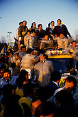 Seoul, South Korea<br /> December 13 1987<br /> <br /> Massive crowds cheer for Kim Dea-jong, the opposition leader to the ruling party campaigning during the South Korean presidential elections in Seoul's Poramae Park. <br /> <br /> Kim Dae-jung (3 December 1925 to 18 August 2009) was President of South Korea from 1998 to 2003, and the 2000 Nobel Peace Prize recipient. As of this date Kim is the first and only Nobel laureate to hail from Korea. A Roman Catholic since 1957, he has been called the &quot;Nelson Mandela of Asia&quot; for his long-standing opposition to authoritarian rule.