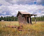 Leaning log Outhouse, Montana