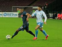 Felipe Anderson  Faouzi Ghoulan  durante l'incontro di ritorno della semifinale  Tim Cup tra     Napoli - Lazio allo  Stadio San Paolo  di Napoli ,08 Aprile  2015