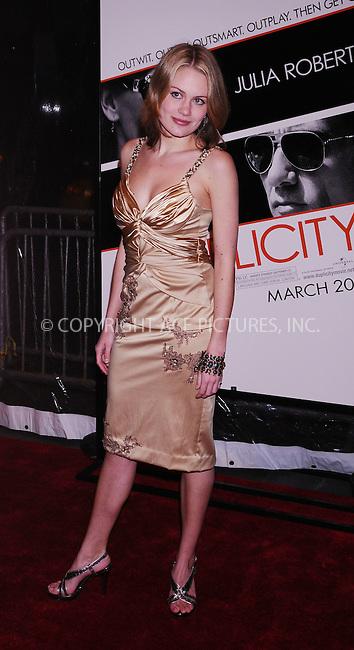 WWW.ACEPIXS.COM . . . . .  ....March 16 2009, New York City....Sabrina Frank, arriving at the premiere of 'Duplicity' at the Ziegfeld theatre on March 16 2009 in New York City.....Please byline: AJ Sokalner - ACEPIXS.COM..... *** ***..Ace Pictures, Inc:  ..tel: (212) 243 8787..e-mail: info@acepixs.com..web: http://www.acepixs.com