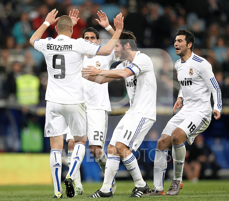 Real Madrid's Karim Benzema goal during la liga match on March 12, 2011...Photo: Cesar Cebolla / ALFAQUI