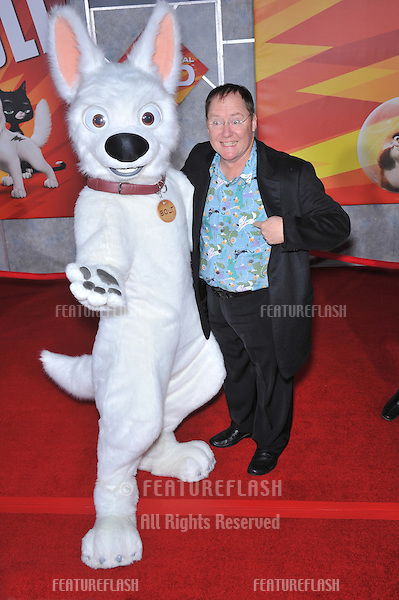 "Disney/Pixar boss John Lasseter with ""Bolt"" character at the world premiere of ""Bolt"" at the El Capitan Theatre, Hollywood..November 17, 2008  Los Angeles, CA.Picture: Paul Smith / Featureflash"