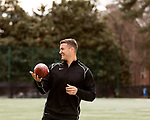 March 19, 2017. Chapel Hill, North Carolina.<br /> <br /> Mitch Trubisky runs through drills with Russell Dudley, a trainer that has worked with him since he came to UNC. <br /> <br /> Mitchell Trubisky, the former quarterback of UNC-CH, is projected to be picked in the first round of the 2017 NFL draft.