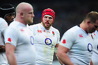 A bloodied James Haskell of England looks on. RBS Six Nations match between France and England on March 19, 2016 at the Stade de France in Paris, France. Photo by: Patrick Khachfe / Onside Images