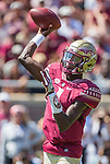 Florida State quarterback James Blackman throws in the first half of an NCAA college football game North Carolina State in Tallahassee, Fla., Saturday, Sept. 23, 2017.  (AP Photo/Mark Wallheiser)