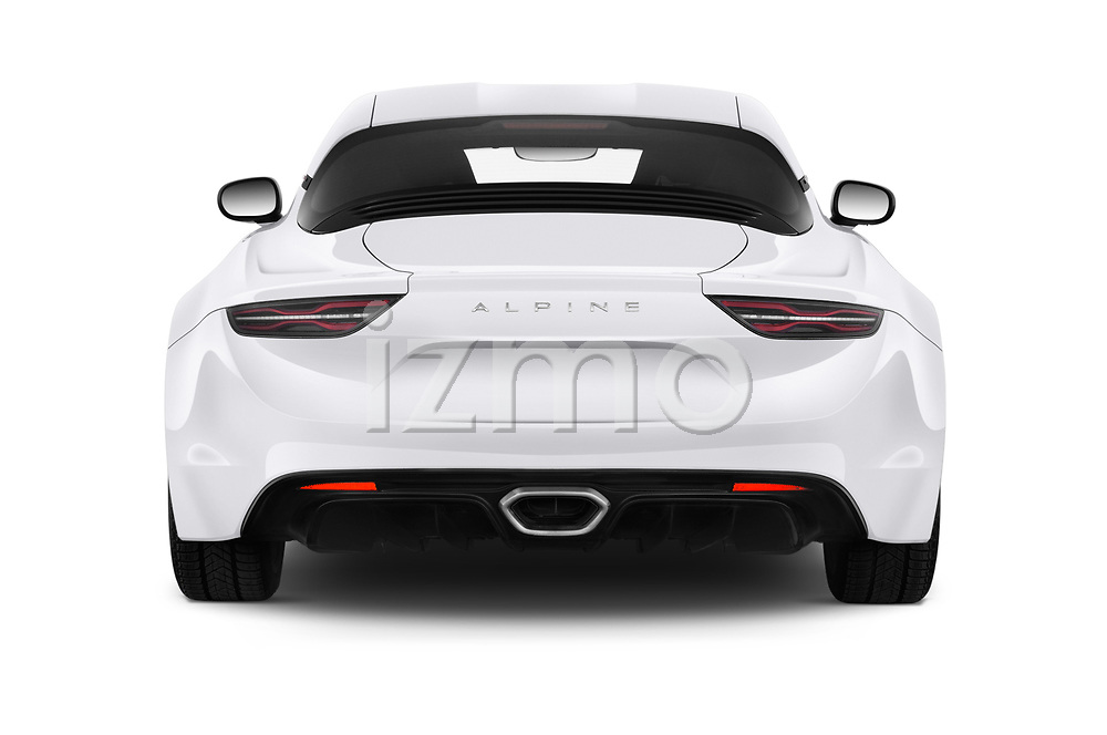 Straight rear view of 2019 Alpine A110 Pure 2 Door Coupe Rear View  stock images