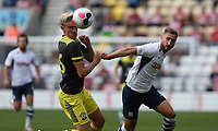 Southampton's Christophe Klarer and Preston North End's Louis Moult<br /> <br /> Photographer Stephen White/CameraSport<br /> <br /> Football Pre-Season Friendly - Preston North End v Southampton - Saturday July 20th 2019 - Deepdale Stadium - Preston<br /> <br /> World Copyright © 2019 CameraSport. All rights reserved. 43 Linden Ave. Countesthorpe. Leicester. England. LE8 5PG - Tel: +44 (0) 116 277 4147 - admin@camerasport.com - www.camerasport.com