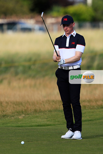 Euan Walker (GB&I) on the 17th during Day 2 Singles at the Walker Cup, Royal Liverpool Golf CLub, Hoylake, Cheshire, England. 08/09/2019.<br /> Picture Thos Caffrey / Golffile.ie<br /> <br /> All photo usage must carry mandatory copyright credit (© Golffile   Thos Caffrey)