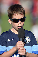 Kansas City, MO - Saturday July 16, 2016: National Anthem singer prior to a regular season National Women's Soccer League (NWSL) match between FC Kansas City and the Washington Spirit at Swope Soccer Village.