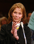 """Mary Tyler Moore, Actress and International Chairman, Juvenile Diabetes Research Foundation (JDRF) testifies before the United States Senate Governmental Affairs Committee hearing on """"Juvenile Diabetes: Examining the Personal Toll on Families, Financial Costs to the Federal Health Care System, and Research Progress Towards a Cure"""" in Washington, DC on June 24, 2003..Credit: Ron Sachs / CNP.."""