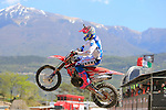 Pilot Gautier Paulin in action during the MXGP World Championships at Pietramurata, on April 19, 2015.