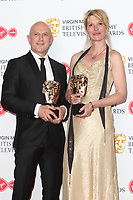 Phil Clarke and Julia Davis at the Virgin Media BAFTA Television Awards 2019 - Press Room at The Royal Festival Hall, London on May 12th 2019<br /> CAP/ROS<br /> ©ROS/Capital Pictures