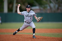 Edgewood Eagles relief pitcher Connor Schatzberg (11) during the second game of a double header against the Bethel Wildcats on March 15, 2019 at Terry Park in Fort Myers, Florida.  Bethel defeated Edgewood 3-2.  (Mike Janes/Four Seam Images)