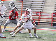 College Park, MD - April 22, 2018: Maryland Terrapins Jared Bernhardt (10) in action during game between Ohio St. and Maryland at  Capital One Field at Maryland Stadium in College Park, MD.  (Photo by Elliott Brown/Media Images International)