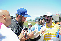 ESPN's Michael Collins has some fun with Andrew Johnston (GBR) and the fans during Friday's round 2 of the 117th U.S. Open, at Erin Hills, Erin, Wisconsin. 6/16/2017.<br /> Picture: Golffile | Ken Murray<br /> <br /> <br /> All photo usage must carry mandatory copyright credit (&copy; Golffile | Ken Murray)