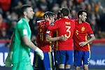 Spain's Sergio Ramos, Diego Costa, Vitolo, Sergio Busquets and Gerard Pique celebrate goal in presence of Israel's Ofir Marciano during FIFA World Cup 2018 Qualifying Round match. March 24,2017.(ALTERPHOTOS/Acero)
